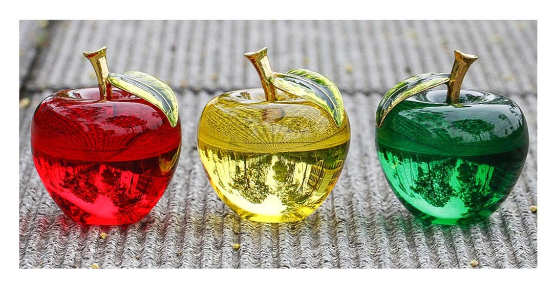 H&D Crystal Glass Apple Paperweight Craft Decor (Apple-Set of 3) by H&D