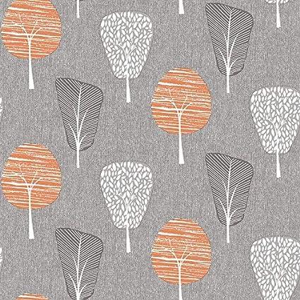 Retro Tree Grey Yellow Orange Wallpaper Forest Floral Botanical Woodland Modern