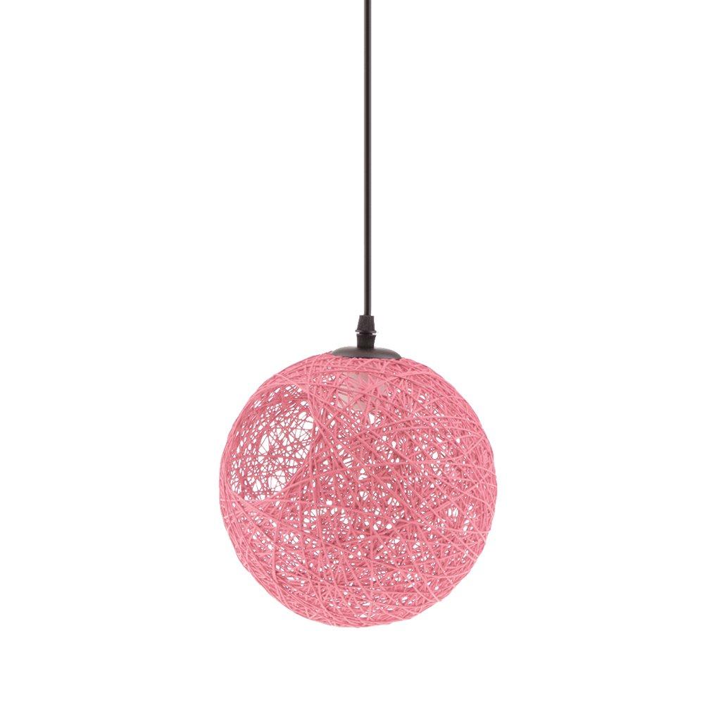 MagiDeal Lampe de Table en Rotin avec Câble Boule de Globe Plafond Suspension 20cm - Orange