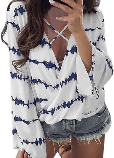 Fossen Mujer Blusa Camisa - Manga Larga - Rayas - Cruz de Banda - Gasa - Elegante y Moda: Amazon.es: Ropa y accesorios