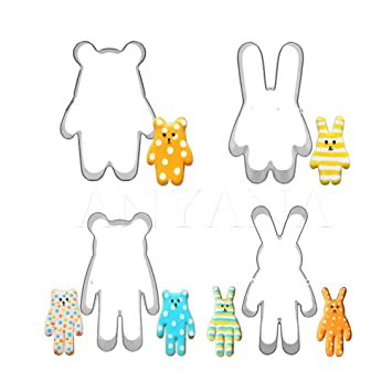 Anyana 4 piezas colorido conejo y oso de pera, herramienta de acero inoxidable cortador de