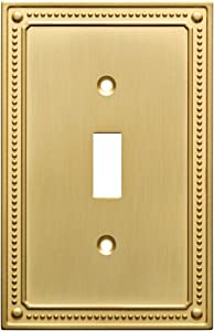 Franklin Brass W35058-BB-C Classic Beaded Single Switch Wall Plate/Switch Plate/Cover, Brushed Brass