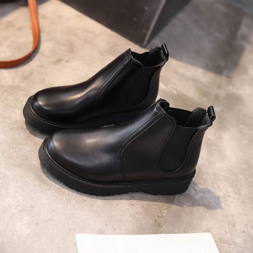 ZHRUI Schuhe Stiefel Damen Mode Damenstiefel Einfarbige Schuhe Schuhe Schuhe Martain Stiefel Leder Stiefeletten Runde Zehe Kurze Stiefel Outdoor Stiefel Kurzschaft (Farbe   Schwarz Größe   CN 38=EU 39) f4ceae