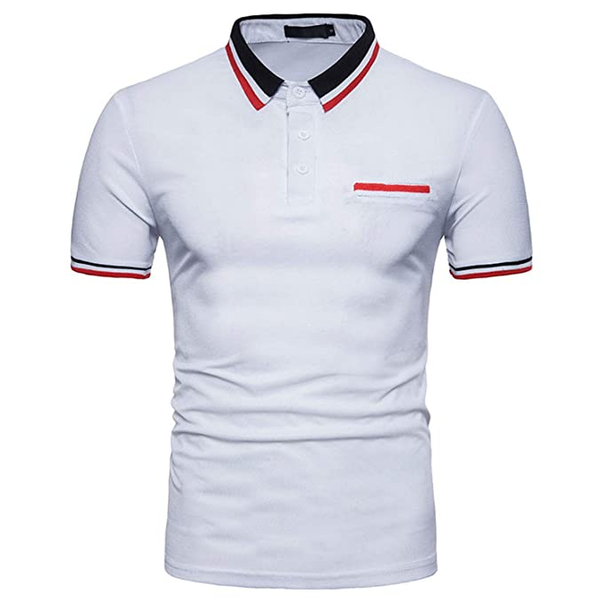 0887fef3 Image Unavailable. Image not available for. Color: Men Summer Polo Shirt  2019 Men's Cotton Short Sleeve Polo Shirts,White ...