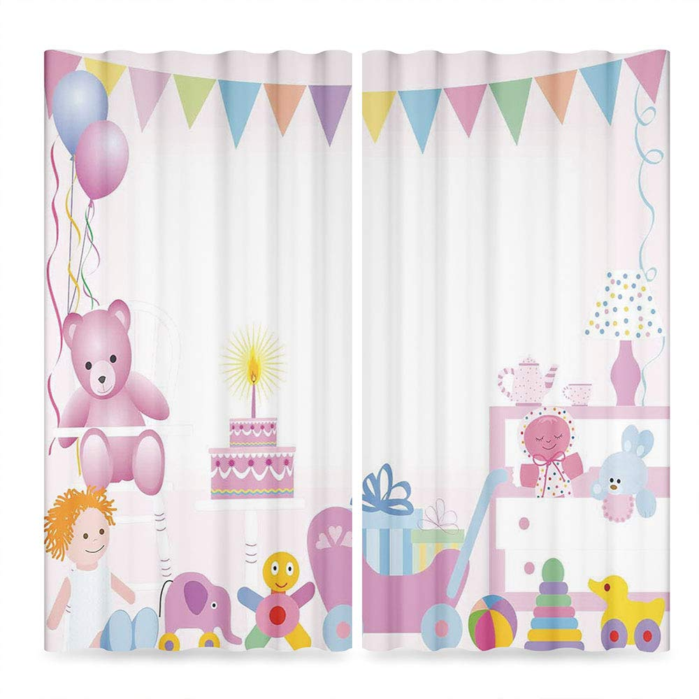 C COABALLA Birthday Decorations for Kids Decor Collection,Baby Girl Birthday Celebraiton Party with Flags Bears Toys,for Living Room, 2 Panel Set, 28W X 39L Inches