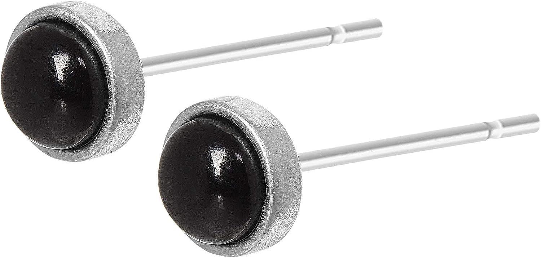 SENCE Copenhagen Mujer Pendientes Plata de la serie de Essential Earring Con Una perla negro ágata latón plateado–A501