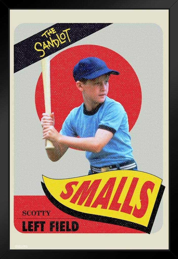 Pyramid America The Sandlot Movie Scotty Smalls Baseball Card Retro Vintage Sports Film Cool Wall Decor Art Print Black Wood Framed Poster 12x18
