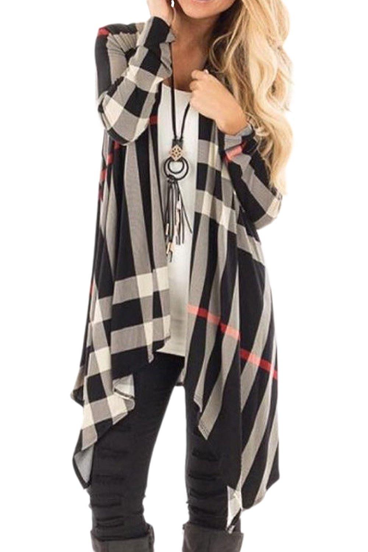 YACUN Women Plaid Open Front Waterfall Cardigans Outwear Coat CAOny0535