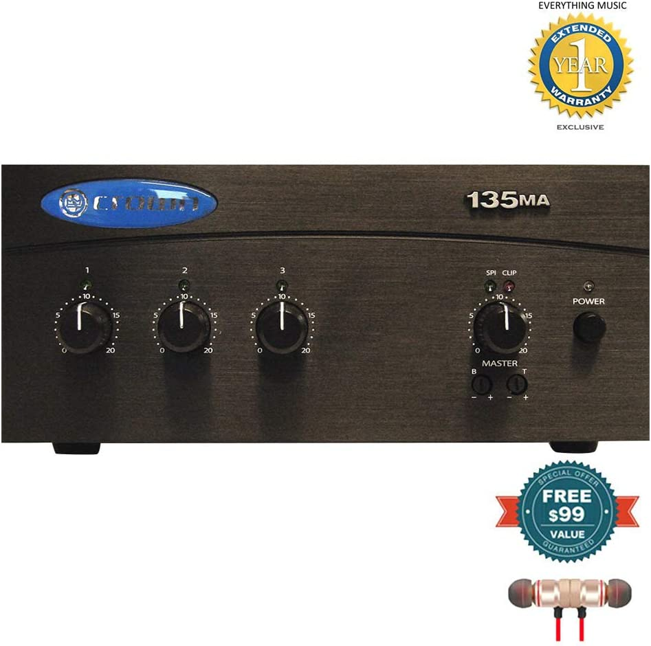 35W Mixer-Amplifier includes Free Wireless Earbuds Crown 135MA Three Input Stereo Bluetooth In-ear and 1 Year Everything Music Extended Warranty