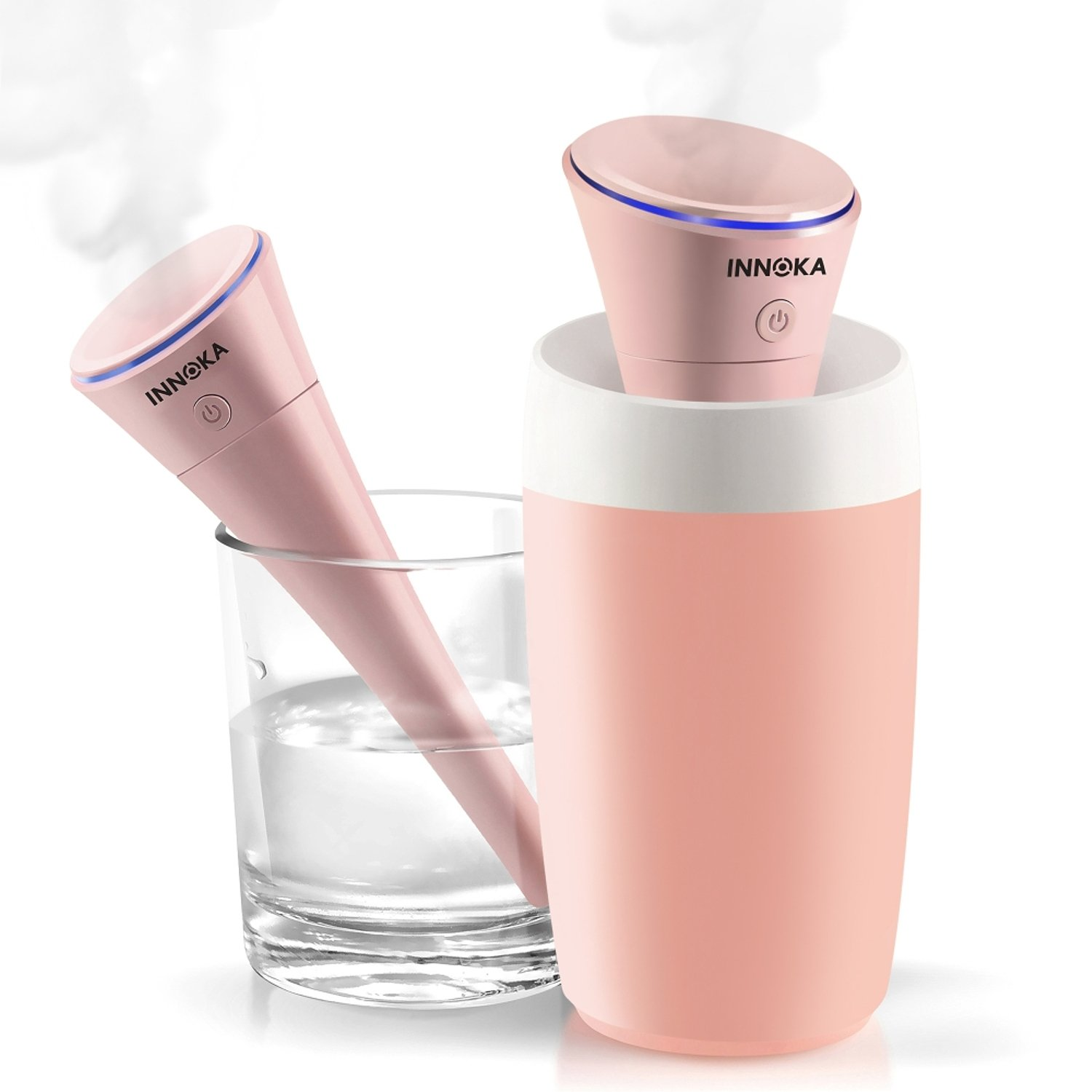 INNOKA Ultrasonic Portable USB Travel Humidifier Cool Mist Mini Humidifier [Auto Shut-Off & Whisper Quiet & Detachable USB Cable] w/LED Light Indicator for Home Bedroom Office Hotel Car, 280ml, Pink