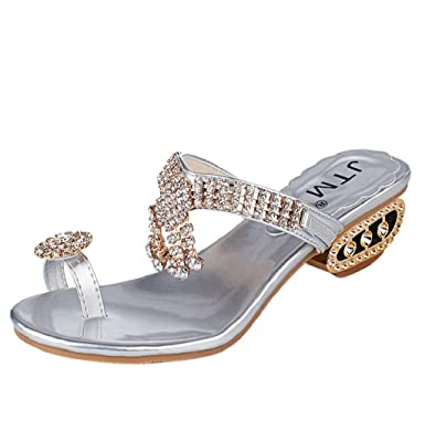 8a4f296b1ac6 Amazon.com  Women Sparkle Sandals Flip Flops Rhinestone Wedges Shoes Low  Heel Pump JHKUNO  Clothing