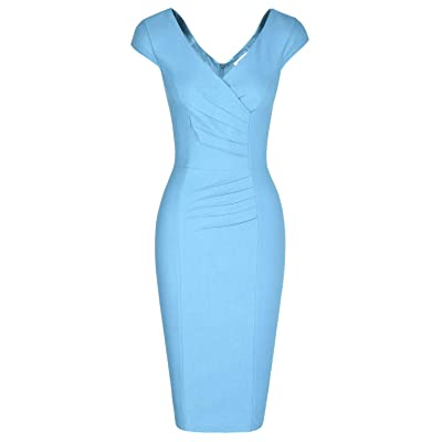 MUXXN Women's 1950's Vintage V Neck Ruched Sheath Formal Pencil Dress at Women's Clothing store