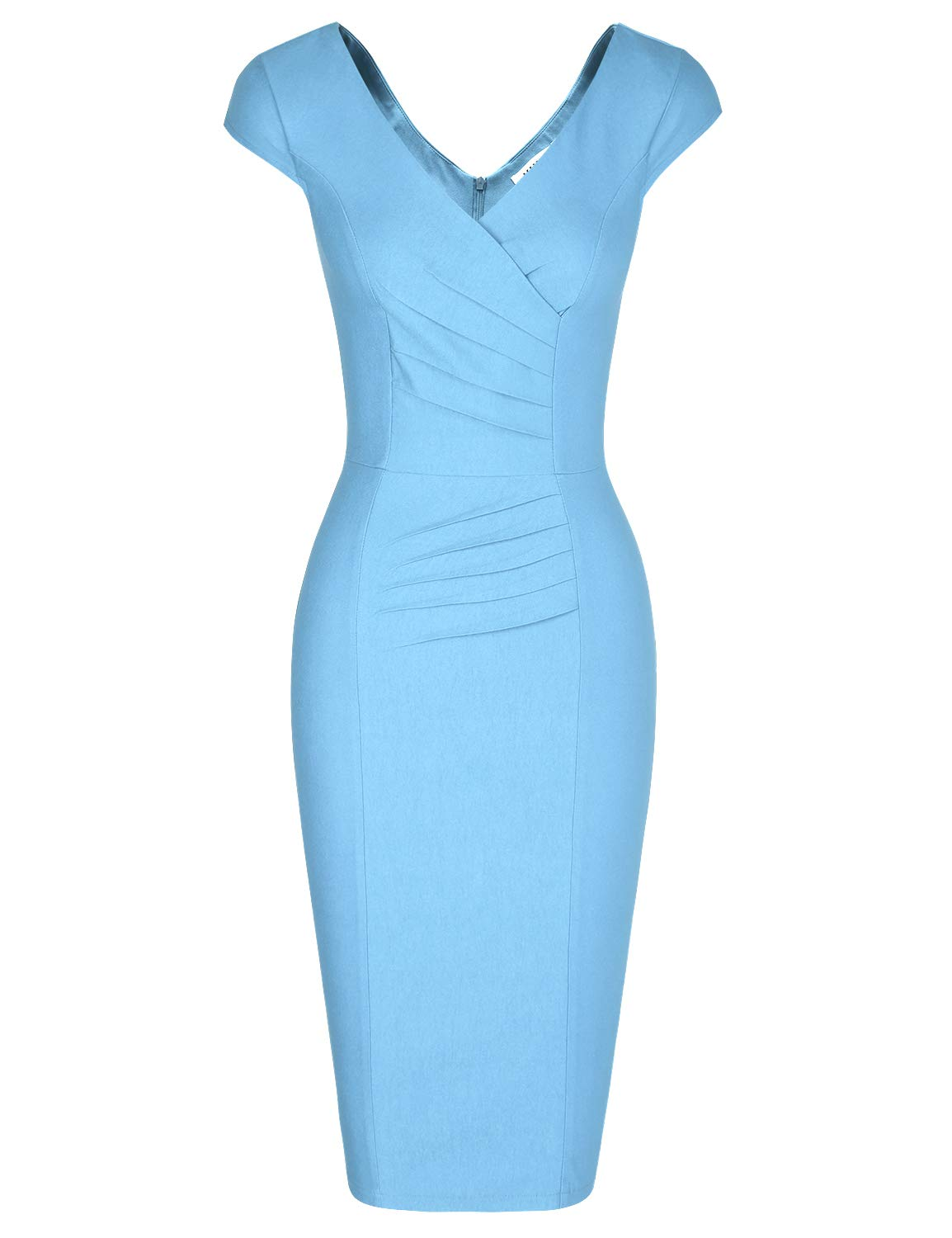 MUXXN Women's 1950's Vintage V Neck Ruched Sheath Formal Pencil Dress