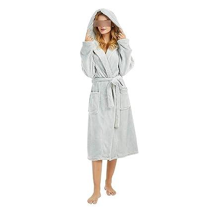 Amazon.com: Albornoz de invierno con capucha, de peluche ...