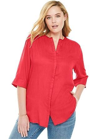 98b535c4a90 Woman Within Plus Size Mandarin Tunic Button Down Shirt at Amazon ...