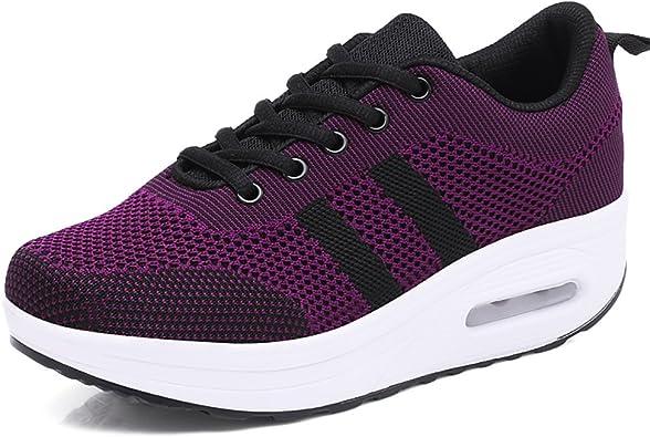 Mujer Zapatillas de Deporte Cuña Zapatos para Correr Plataforma Sneakers con Cordones Calzado de Malla Air Tacón 5cm Negro Rosa Morado Blanco 34-39: Amazon.es: Zapatos y complementos