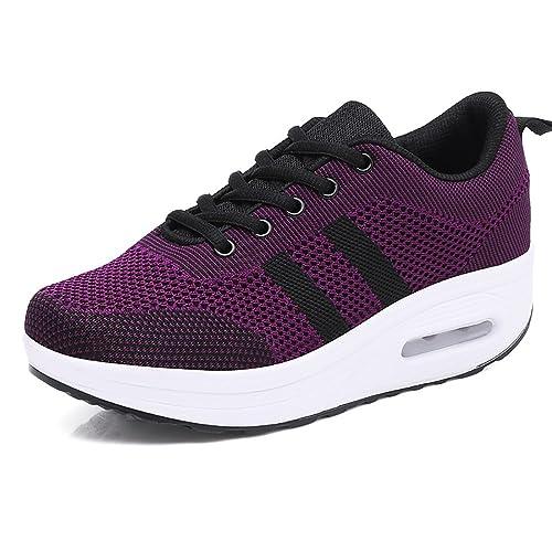 Zapatos para Correr Deportivas Calzado para Caminar Plataforma Mujeres Sneakers Fitness Lace-up Zapatillas de Aire Tacón 5cm Negro Rosa Morado Blanco 34-39: ...