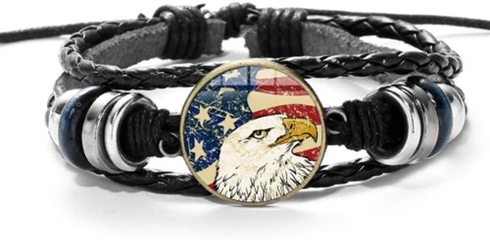 MHOOOA USA Bandera Americana PU Pulseras y Brazaletes de Cuero Águila, Estrellas y Rayas, Encantos, Cuentas, Pulsera Ajustable, Negro