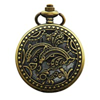 Hemobllo Vintage Pocket Watch Quartz Dolphin Pattern Fob Watches Retro Bronze Pocket Watch Mechanical Watch