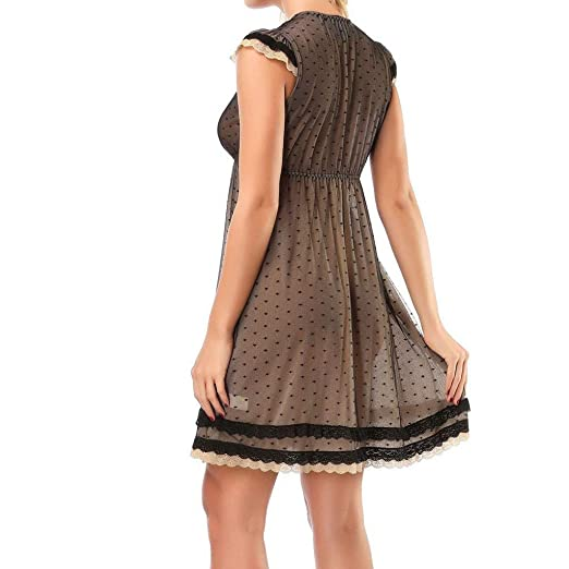 9a7919f482a0 Karoleda Women Lingerie Fashion Nightwear Mesh Soft Skin Cardigan Nightgown  Sexy Sleepwear Robe Underwear Pajamas Coffee