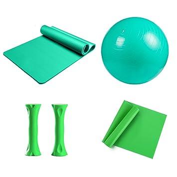 Yoga Set Verde 1 Yoga estera de NBR, 1 pelota de yoga de PVC,