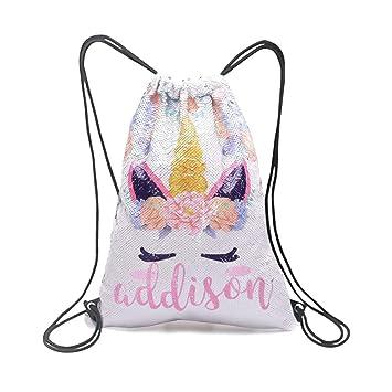 9c2c924cd7b0 Xiaowli Personalized Unicorn Sequin Drawstring Backpack, Custom Mermaid  Sequin Bag Magic Reversible Glittering Bag Unicorn Gift for Girls (A ...