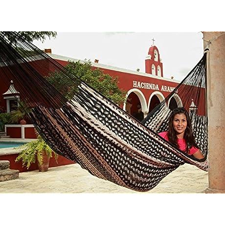 Sunnydaze Hand Woven XXL Thick Cord Mayan Family Hammock Black Natural 880 Pound Capacity