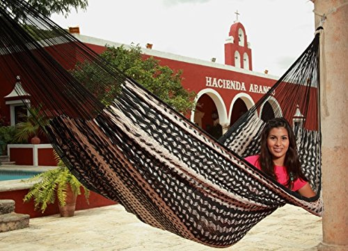 Sunnydaze Mayan Family Hammock Hand-Woven XXL Thick Cord, Heavy Duty 880-Pound Capacity, Black/Natural - EXTRA LARGE SIZE: 157 inch long x 90 inch wide; Bed: 79 inch wide x 90 inch long; Weight capacity: 880 pounds RELAX IN ULTIMATE COMFORT: Made from 80% Cotton and 20% Nylon so it is soft and extremely durable; For both indoor and outdoor use FITS A WHOLE FAMILY: Thick cords for heavy duty use and maximum comfort, perfect as a double, 2 person, or even a whole family - patio-furniture, patio, hammocks - 61NENkB0HvL -
