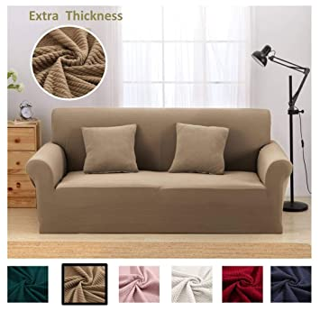 Argstar Premium Knit Sofa Cover for 3 Seater Couch Elastic Slipcover for  Living Room Coffee Furniture Protector
