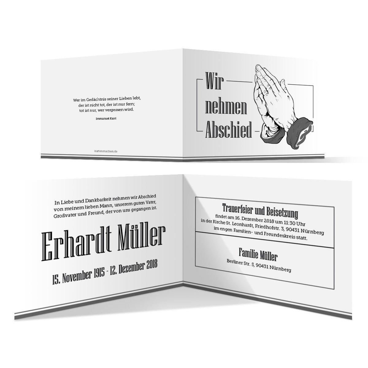 100 x Trauerkarte individuell Trauer Todesfall Beerdigung Bestattung - Betende Hände B07BH4QBLW | Verschiedene  | Auktion  | Hohe Qualität und geringer Aufwand
