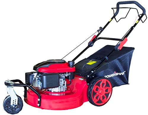 PowerSmart DB8620 20 inch 3-in-1 196cc Gas Self Propelled Mower, Red Black