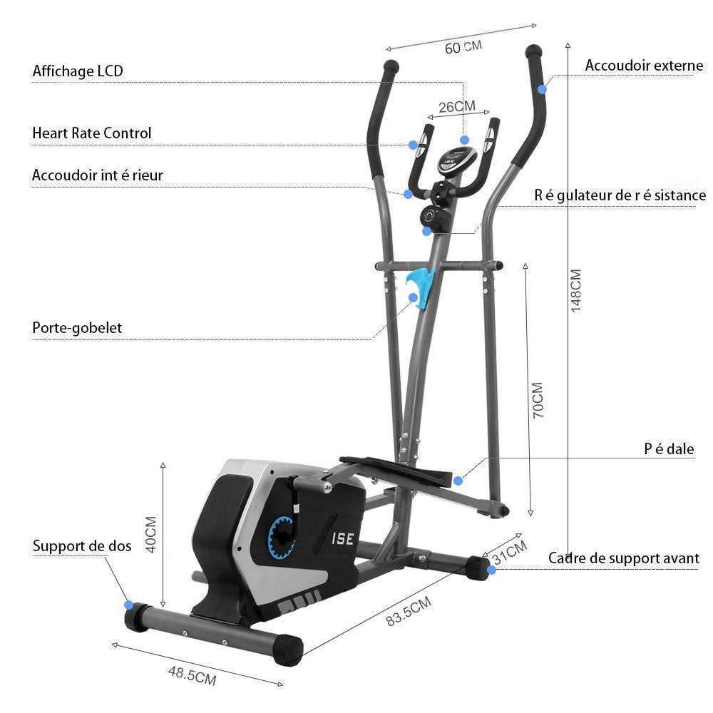 LCD Pantalla SY-9801 ISE Bicicleta El/íptica Profesional de Fitness para Casa con Sensor de Pulso,8 Niveles de Resistencia Ajustable M/áquina El/íptica de Gimnasio Ejercicio con 8KG Volante de Inercia