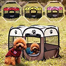 Dog Playpen Folding Portable Pet Tent Indoor Outdoor Pet Playpens Puppy Tents Dog House (Brown)