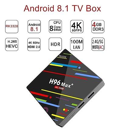 Latest H96 MAX Plus Android 8 1, Android TV Box Supports JIO TV & HotStar  Apps, 4GB/32GB RK3328 UHD 4K 1080P Bluetooth Smart TV Box TX3 Mini X96 Mini