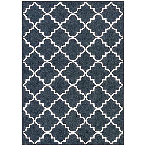 Mohawk Carpet (Mohawk Home Soho Fancy Trellis Geometric Lattice Printed Area Rug, 6 x 9, Navy Blue)