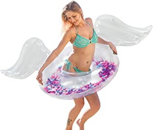 CoTa Global Angel Wings Inflatable Swim Float Ring, Confetti Transparent Lounge for Summer Pool Party Beach Lake - Premium UV Resistant Vinyl Water Tube Toy, Women Adults Kids - Transparent Feather