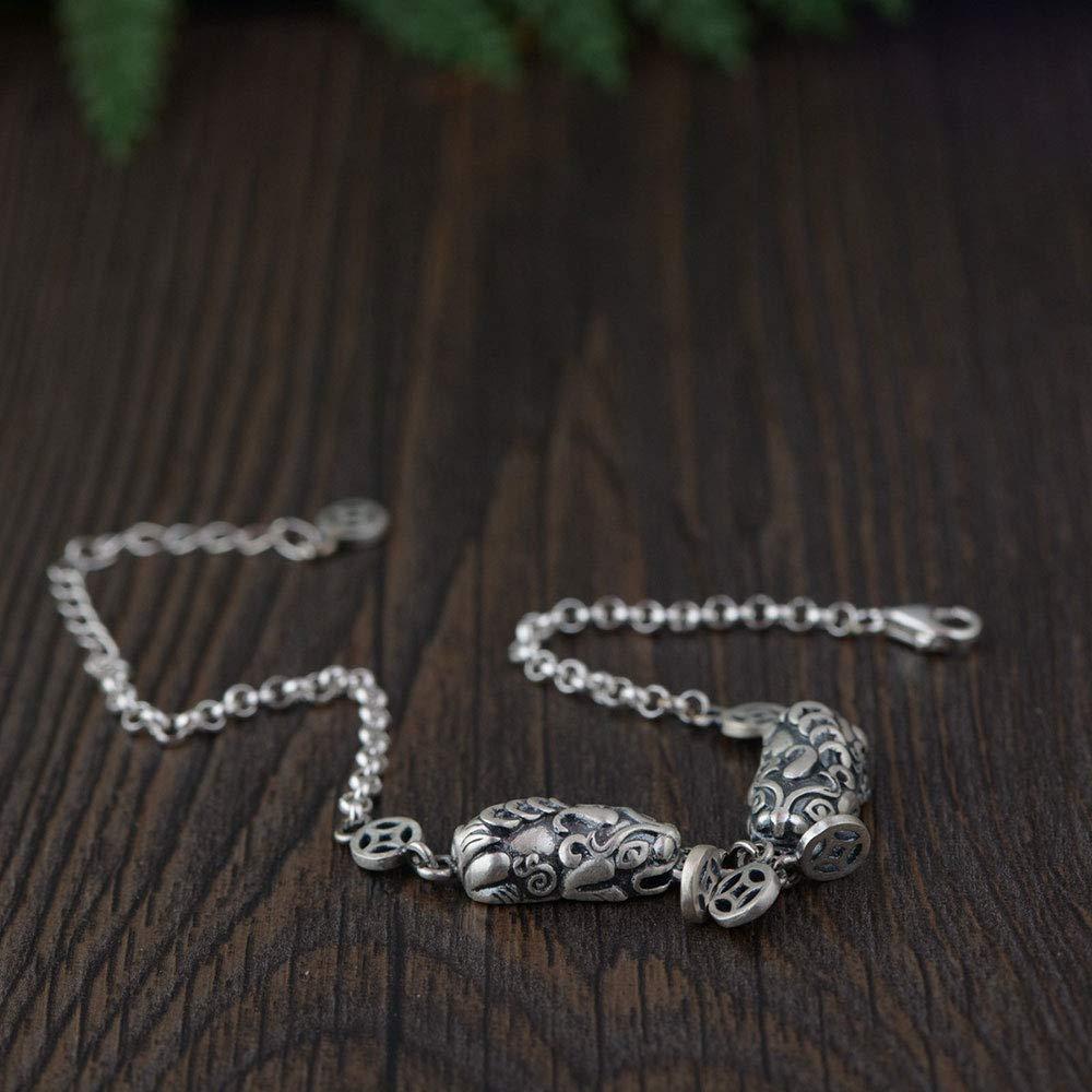 ALISETHEL Good Luck Bracelet 925 Silver Pixiu Bracelet Animal Money Good Luck 17cm 100% Original S925 Thai Silver Bracelets for Women Jewelry