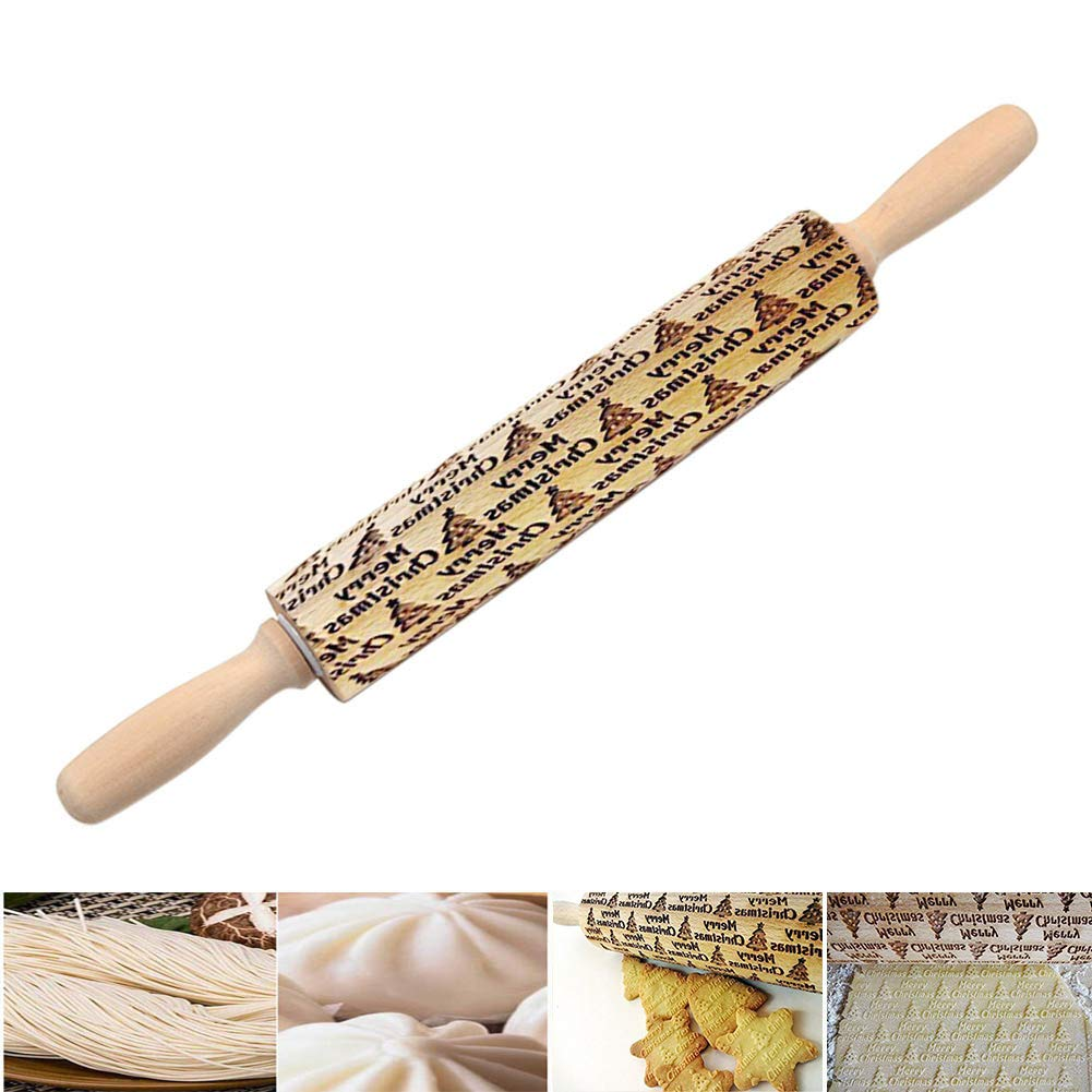 Majome Christmas Tree Embossing Rolling Pin Engraved Durable For DIY Kitchen Cookies