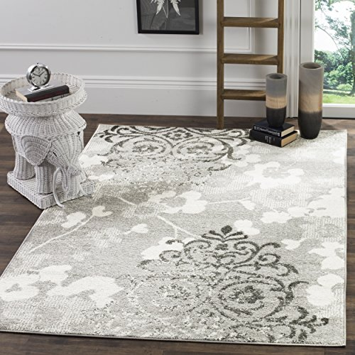 Oriental Vine Swirls Floral Damask Area Rug, Featuring Exotic Rectangle Bright Garden Leafs Vines Flowers Patterned Indoor Carpet, Nature Lovers Design, Fashionable Rustic Lodge Style Themed, Ivory