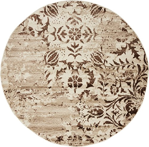 Modern Vintage Inspired Area Rugs Chocolate Brown 5' FT Round Himalaya Collection Rug - rugs for living room - rugs for dining room & bedroom - Floor Carpet (Large Rugs Round Area)