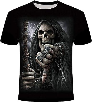 Camisetas De Manga Corta 3d Esqueleto Impresas Camisetas Hombre Casual Creativas Cuello Redondo Tallas Grandes Camisas Para Hombre Amazon Es Ropa Y Accesorios