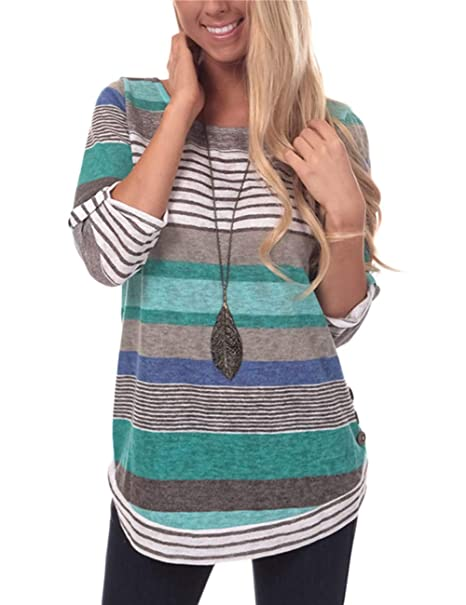 9f1da4c489 Women's Casual Striped T-Shirt Loose Fit Tunic Tops Round Neck Button Top  Blue