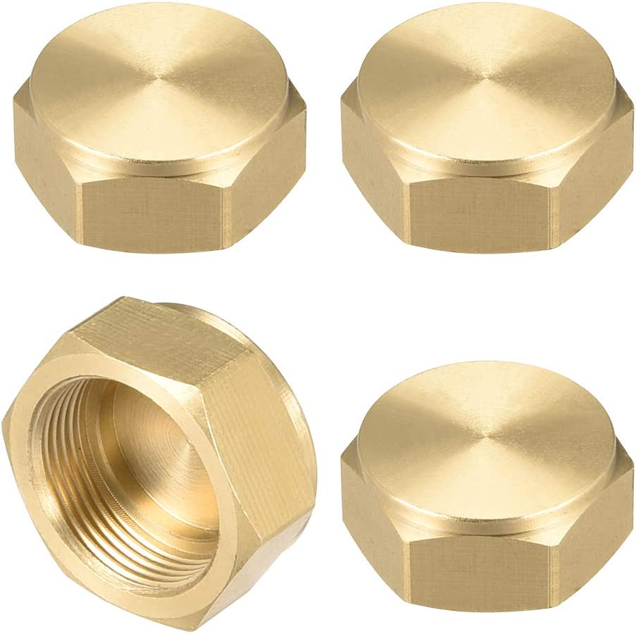 uxcell M18x1.0 Pipe Fitting Cap, Brass Hex Female Thread Hose Connector, for Garden and Outdoor Water Pipes Nozzle Joints, 4Pcs