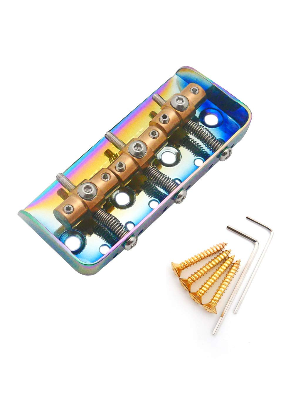 Guyker WTBS Ashtray Bridge for Tele TL Guitars, with Brass Staggered Saddles Replacement Part 6 String Fender Compensated Guitar(Chameleon Rainbow) by guyker