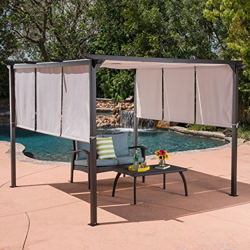 Great Deal Furniture Dione Outdoor Steel Framed 10′ by 10′ Gazebo, Grey For Sale