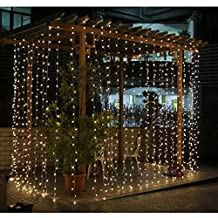 AGPtek®3M*3M 300LED Christmas Party Decoration Fairy Curtains Light Multiple String Light with Controller 8 Different Lighting Modes for Wedding Christmas Party (Warm White)