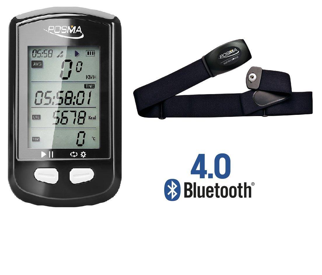 POSMA DB2 Bluetooth GPS Cycling Bike Computer Bundle with BHR20 Heart Rate Monitor by POSMA
