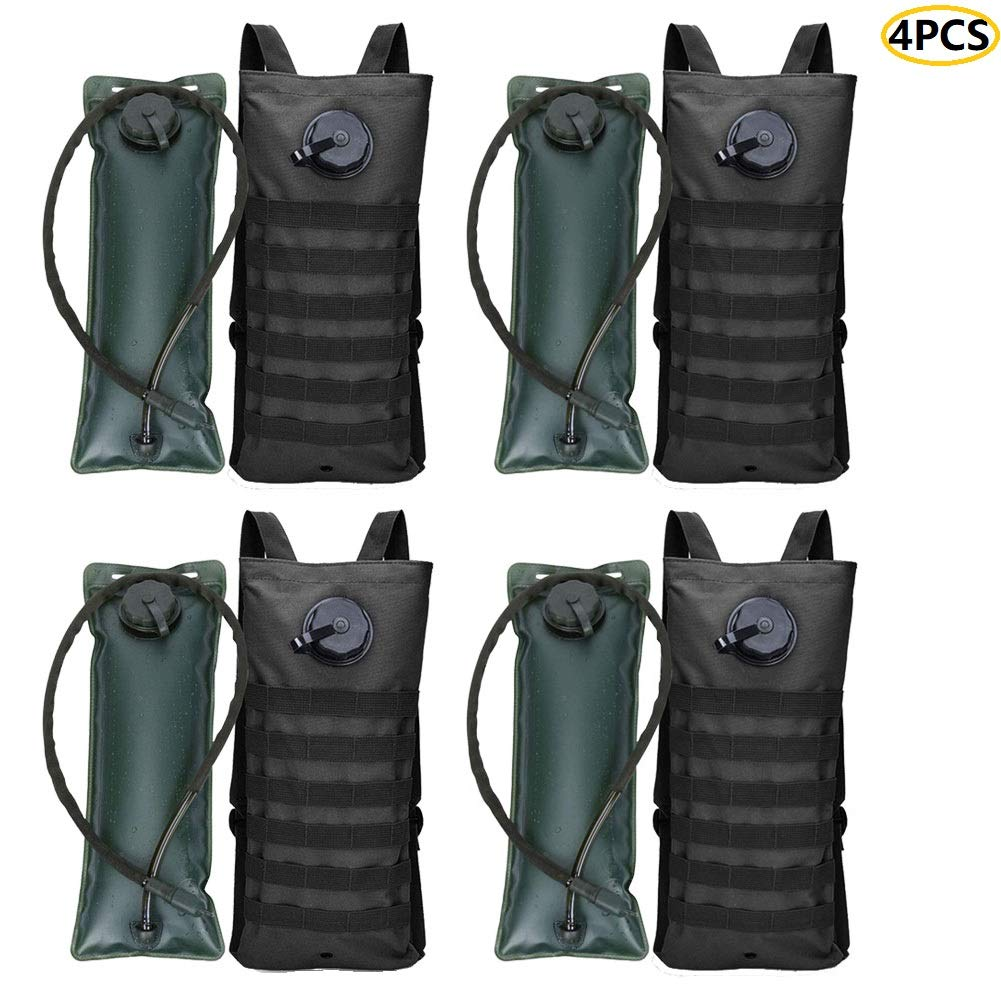 AIMILL 4PCS Camel Backpack Hydration Pack Hydration Carrier Backpack, Tactical Bag with Water Bladder, Lightweight for Running Jogging Cycling Hiking Camping Climbing(4pack Black,3l) by AIMILL