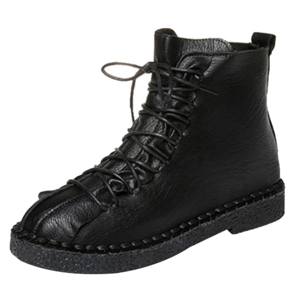 Womens Winter Boots | Vintage Ladies Lace Up Ankle Booties | Back Zipper Snow Boots Flat Martin Shoes (Black, CN:40/US:8)