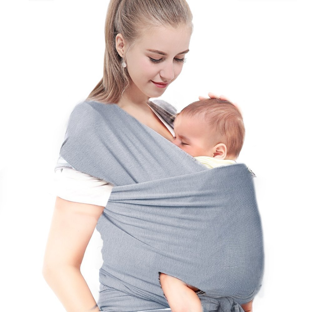 Baby Wrap Sling Organic Stretchy Carrier Adjustable Breastfeeding Cover for Newborns Infants /& Toddlers
